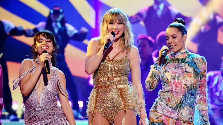 Camila Cabello, Taylor Swift and Halsey at the American Music Awards