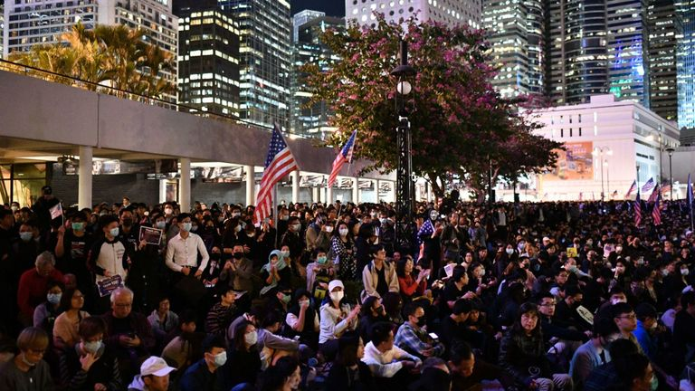 People assemble for a gathering of thanks at Edinburgh Place in Hong Kong's Central district