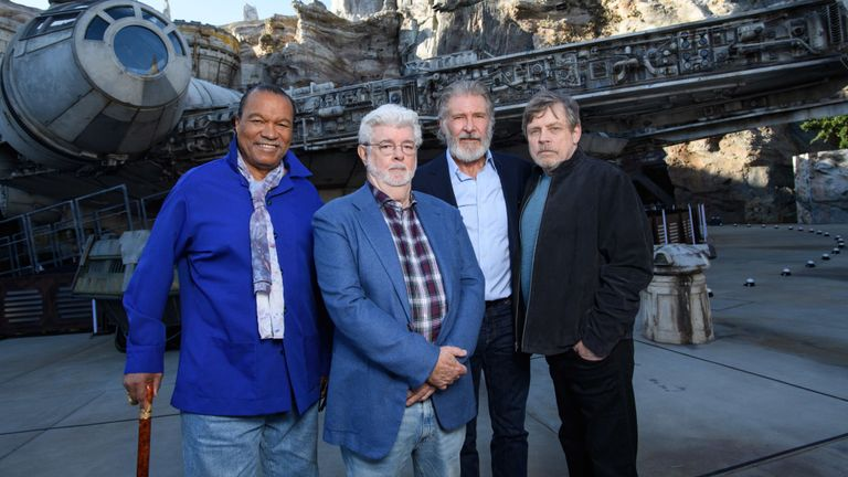 (L-R) Billy Dee Williams, George Lucas, Harrison Ford and Mark Hamill