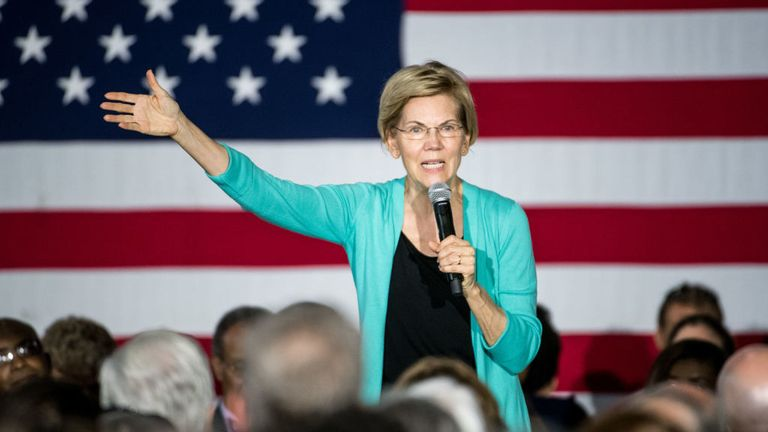 AIKEN, SC - AUGUST 17: Democratic presidential candidate, Sen. Elizabeth Warren (D-MA) addresses a crowd at a town hall event on August 17, 2019 in Aiken, South Carolina. Warren has held more than ten 2020 campaign events in the early primary state. (Photo by Sean Rayford/Getty Images)
