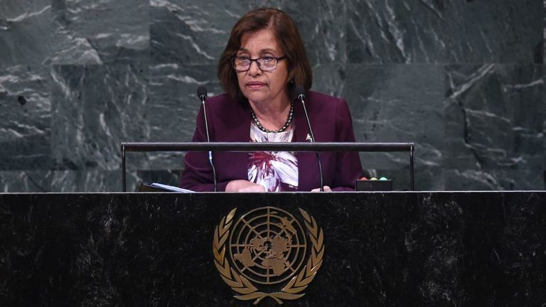 Marshall Islands' President Hilda Heine speaks at the General Debate of the 73rd session of the General Assembly at the United Nations on September 25, 2018 in New York. (Photo by Bryan R. Smith / AFP) (Photo credit should read BRYAN R. SMITH/AFP via Getty Images)