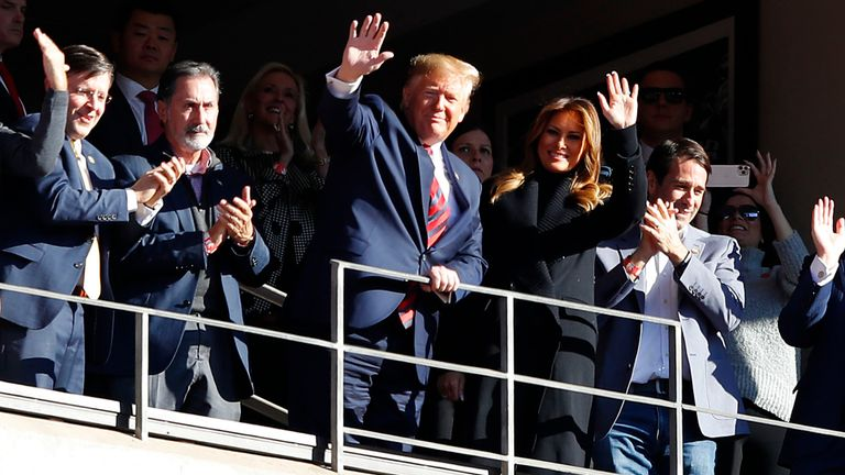 Donald Trump and the first lady where in Alabama to watch a football game