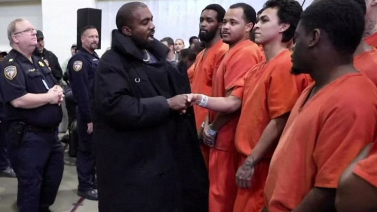 West shook hands with a number of the inmates during his visit