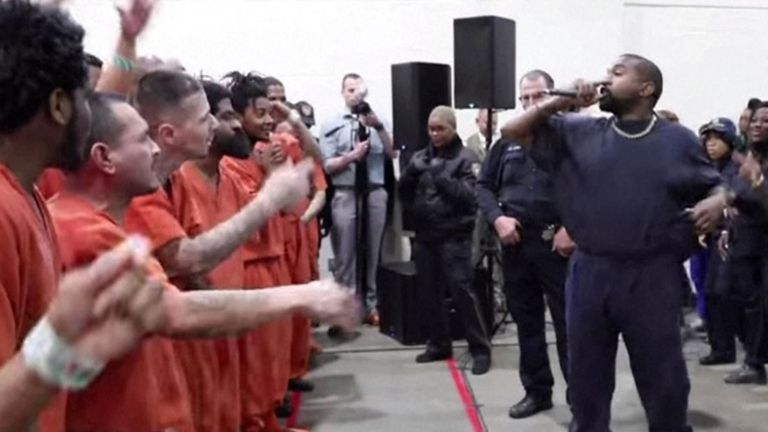 Kanye West performed two shows at Harris County jail in Texas