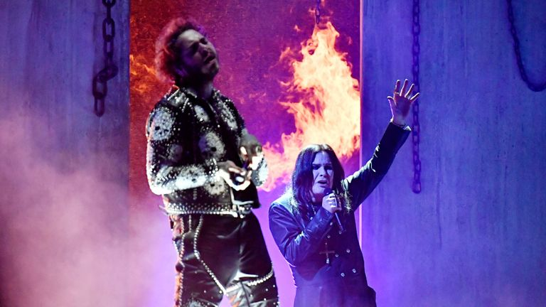 Ozzy Osbourne performer with Post Malone and Travis Scott at the American Music Awards