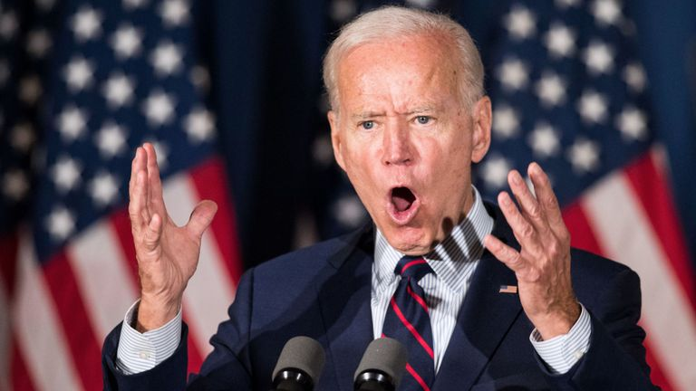 Democratic presidential candidate, former Vice President Joe Biden speaks during a campaign event on October 9, 2019 in Rochester, New Hampshire