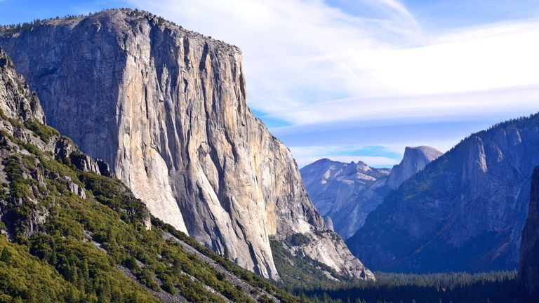 El Capitan is a vertical rock formation in Yosemite National Park