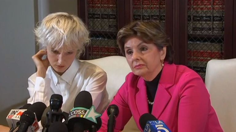 Jane Doe 15 spoke at a press conference with lawyer Gloria Allred