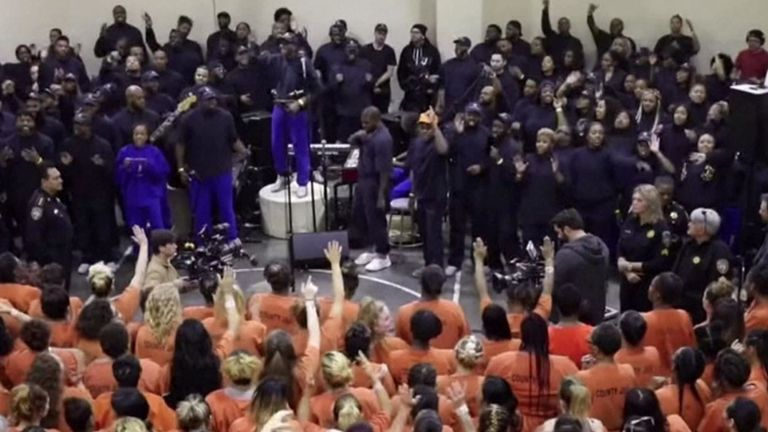 The rapper performed for about 200 inmates and prison staff