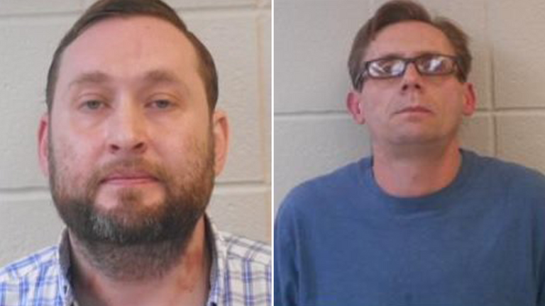 Rowland and Bateman have been accused of making meth in their university laboratory. Pic: Clark County Sheriff's Office)