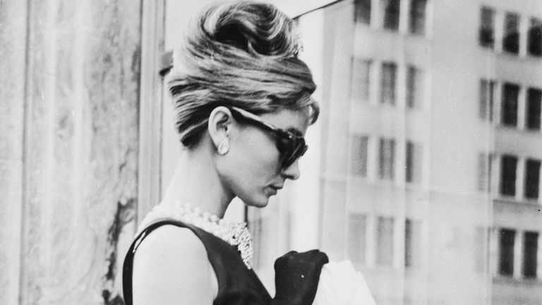 Audrey Hepburn during filming for Breakfast at Tiffany's in New York in 1961