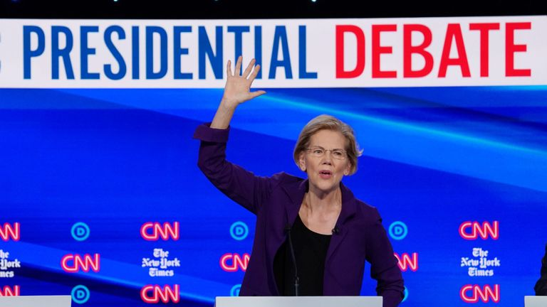 Democratic presidential candidate Senator Elizabeth Warren speaks during the fourth Democratic presidential debate on Tuesday