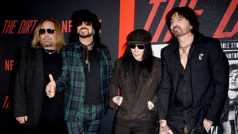Motley Crue at the premiere for biopic The Dirt in 2018