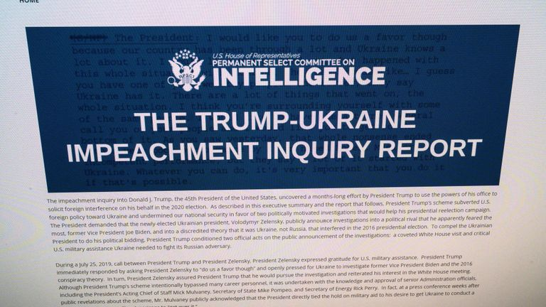 "This photo of a computer screen shows a copy of the Permanent Select Committee on Intelligence Report of The Trump-Ukraine Impeachment Inquiry Report on December 3, 2019 in Washington,DC. - The evidence for impeaching President Donald Trump for misconduct in office and obstruction is ""overwhelming,"" the final report on the House investigation into the US leader said December 3, 2019. ""The evidence of the President's misconduct is overwhelming, and so too is the evidence of his obstruction of Congress,"" said the report, meant to support formal charges against Trump. (Photo by Eric BARADAT / AFP) (Photo by ERIC BARADAT/AFP via Getty Images)"