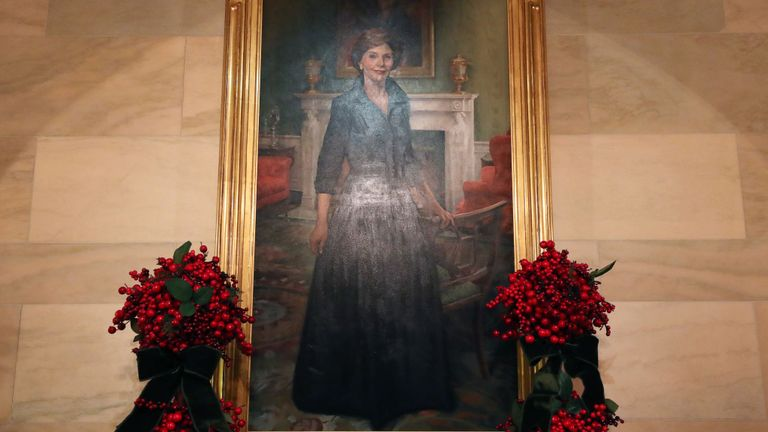 A portrait of former first lady Laura Bush has even been decorated