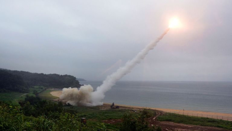 In this handout image provided by South Korean Presidential Blue House, President Moon Jae-in xxx during the National Security Council at the Presidential Blue House on July 29, 2017 in Seoul, South Korea. North Korea launched another test missile, believed to be an Inter Continental Ballistic Missile (ICBM), which travelled 45 minutes before splashing down in the Exclusive Economic Zone (EEZ) of Japan.