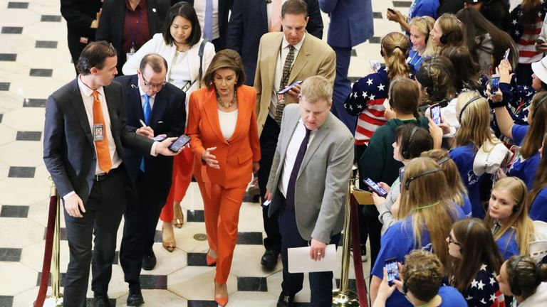 Speaker of the House Nancy Pelosi (D-CA) leaves the floor after the close of a vote by the U.S. House of Representatives on a resolution formalising the impeachment inquiry centred on U.S. President Donald Trump October 31, 2019 in Washington, DC