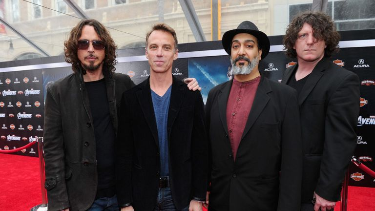 """HOLLYWOOD, CA - APRIL 11: (L-R) Musicians Chris Cornell, Matt Cameron, Kim Thayil and Ben Shepherd of Soundgarden attend the premiere of Marvel Studios' """"Marvel's The Avengers"""" held at the El Capitan Theatre on April 11, 2012 in Hollywood, California. (Photo by Alberto E. Rodriguez/WireImage)"""