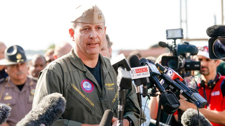 Commanding Officer Timothy Kinsella Jr speaks at a press conference following the shooting on the Pensacola Naval Air Base