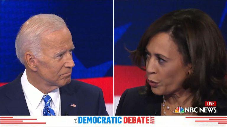 Former vice-president Joe Biden locked horns over race with California senator Kamala Harris.