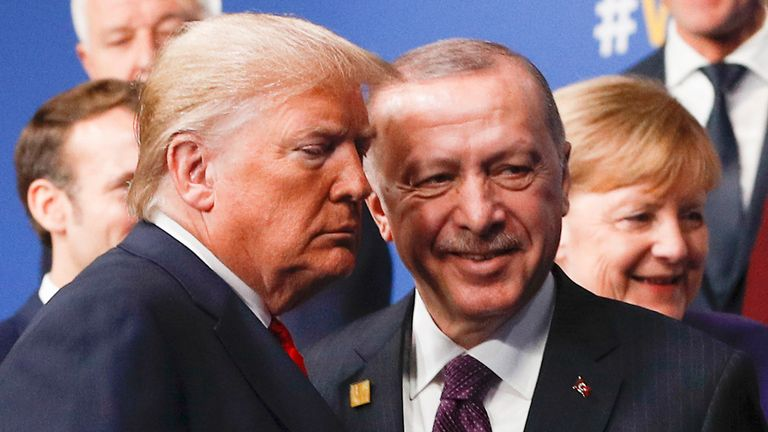 Donald Trump and Recep Tayyip Erdogan in London